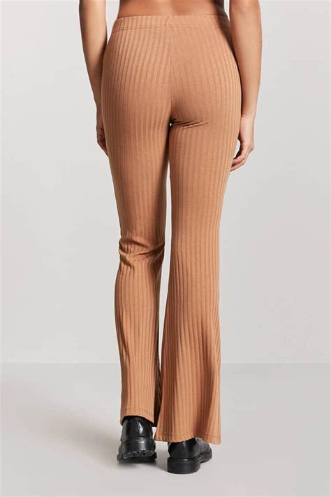 Forever 21 Synthetic Women's Ribbed Flare Trousers in