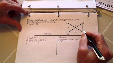 Proof: a rectangle's diagonals are congruent